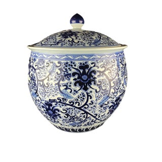 "Chinoiserie Blue and White Porcelain Ginger Jar 13.25"" H For Sale"