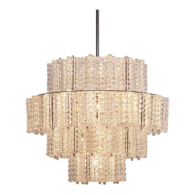 One of six Huge and Rare Glass Chandeliers by Austrolux For Sale
