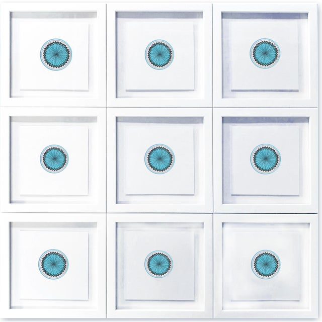 """Created in 2019 by Natasha Mistry, these nine separate drawings in aqua, join to form one piece. Each 8"""" drawing is framed..."""