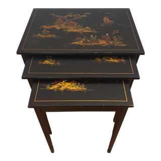 1940s Japanese Black Lacquer Nesting Tables With Hand Painting - Set of 3 For Sale