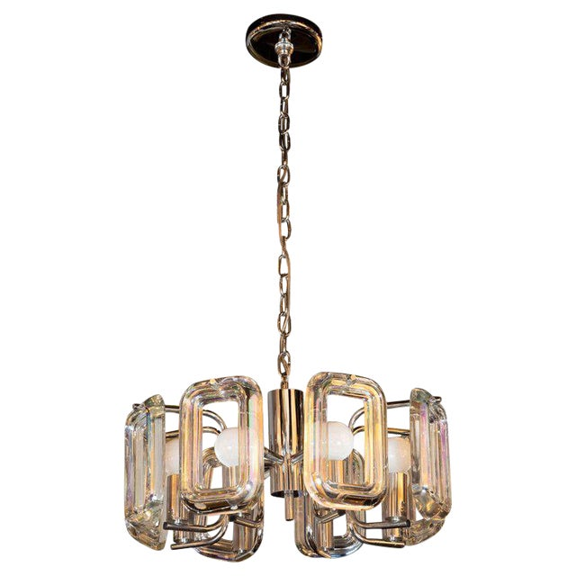 Mid-Century Modern Rectilinear Chrome and Iridescent Glass Eight-Arm Chandelier For Sale