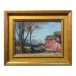 Walter Emerson Baum -The Red Barn-Oil painting -Important Pennsylvania impressionist-1928 For Sale