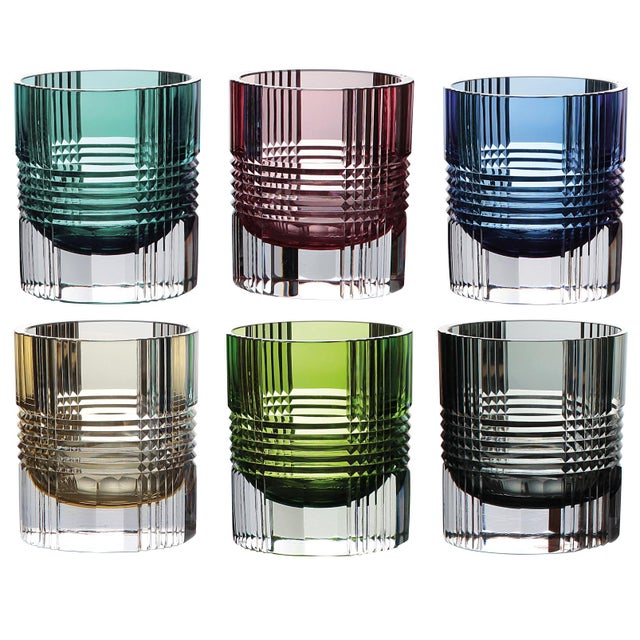 Viden Double Old Fashioned Glasses, Assorted Colors, Set of 6 (Smoke, Teal, Chartreuse, Blue, Rose, Amber) For Sale - Image 9 of 9