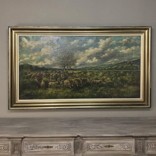 Grand Framed Oil Painting on Canvas by G. Schouten is a wonderful pastoral work from a family of painters that has...