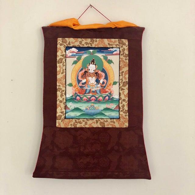 Paper Antique Tibetan Thangka Wall Hanging - Burgundy Dragon Background For Sale - Image 7 of 7