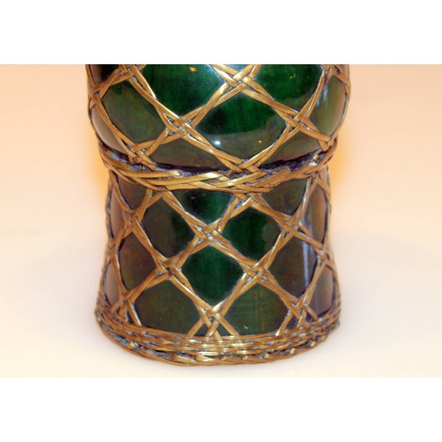 Antique Awaji Pottery Gu Form Vase Brass Weaving For Sale In New York - Image 6 of 10