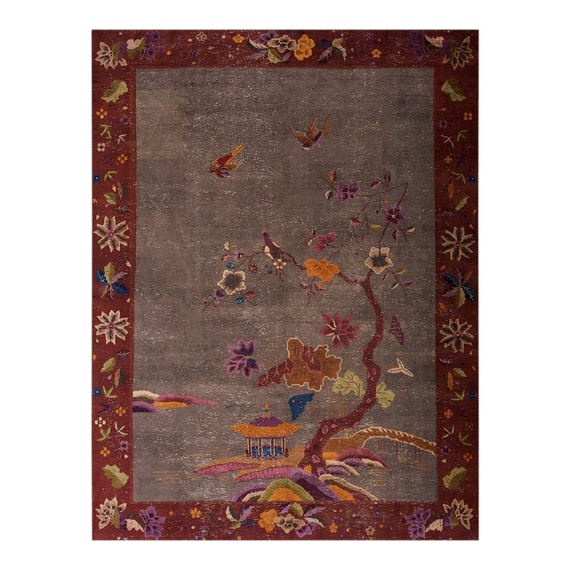 """Antique Chinese Art Deco Rug 8'10""""x11'6"""" For Sale"""