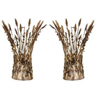Pair of Italian Gilt Wheat Sconces For Sale