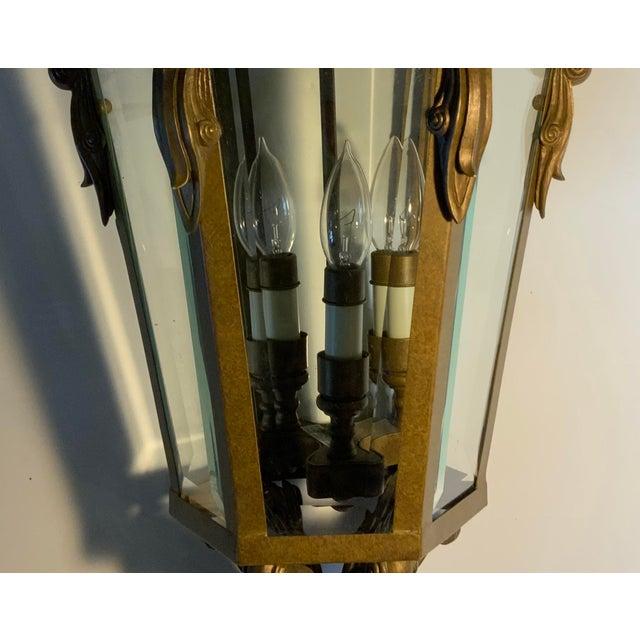 Metal Vintage Six Sided Indoor Hanging Lantern Chandelier For Sale - Image 7 of 13
