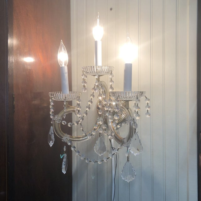 Mid 20th Century Strass Maria Theresa Swarovski Strass Crystal Sconces - a Pair For Sale - Image 5 of 7