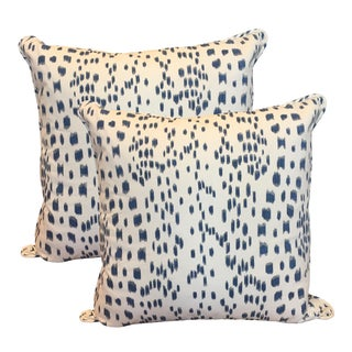 Blue & White Dotted Pillows - A Pair