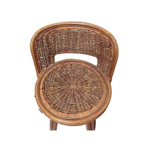 Bamboo Vintage Rattan & Bamboo Swivel Bar Stools - Set of 3 For Sale - Image 7 of 11
