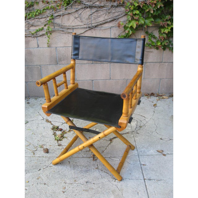 1960s 1960s Vintage Bamboo & Leather Folding Director's Chair For Sale - Image 5 of 11