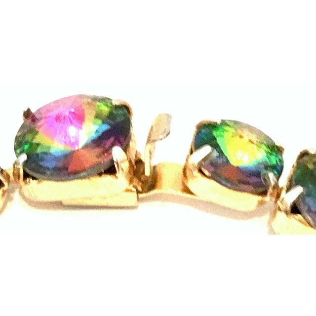 20th Century Gold Plate & Austrian Crystal Rivoli Watermelon Link Bracelet For Sale - Image 9 of 11