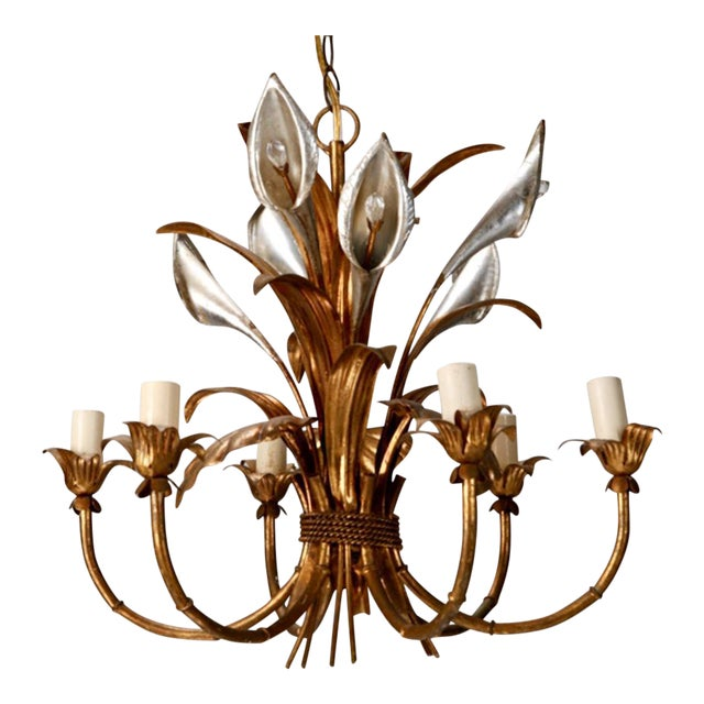 Italian Six Light Gilded Tole Chandelier With Calla Lilies and Crystals For Sale