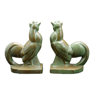 1930s Frankart-Style Art Deco Rooster Bronze Bookends - a Pair For Sale