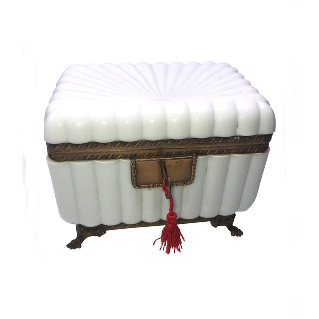 1950s French White Opaline Glass Box For Sale - Image 11 of 11