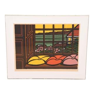 "Mid-Century Modern Print ""Sea Cliff"", Japanese-Style Screenprint For Sale"