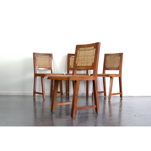 Wood Articulate Woven Mid Century Dining Set in Teak With Glass Top Table For Sale - Image 7 of 9