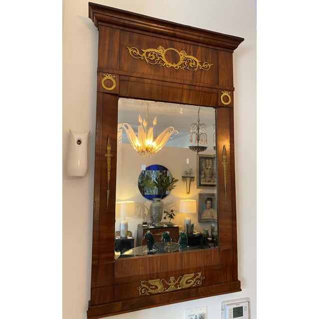 French Empire Mahogany Trumeau Mirror 1810-1820 Antique With Original Mirror For Sale In West Palm - Image 6 of 11