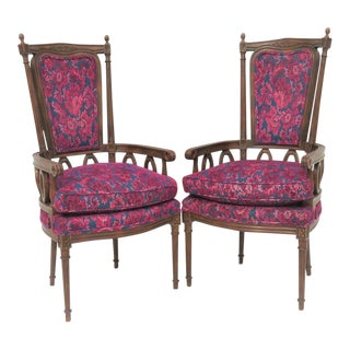 French Style Carved Walnut Arm Chairs - a Pair