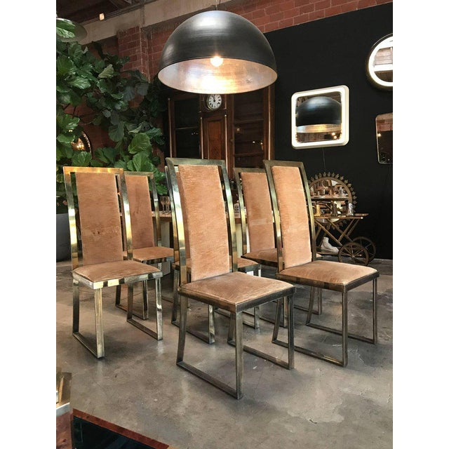 1960s, sassy seating from Italia to your dining room. Massive brass set of four.