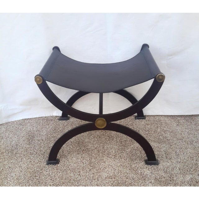 1990s Vintage Roman Leather Sling Curule Bench For Sale - Image 4 of 10