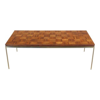 Vintage Mid Century Brass Rectangle Base Parquet Top Coffee Table For Sale