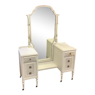 Vintage French Provincial White Dressing Table with Mirror For Sale