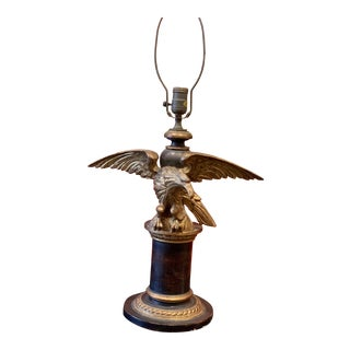 19th Century Grand Tour Style Hand Carved Parcel Gilt Table Lamp With Gilded Eagle For Sale