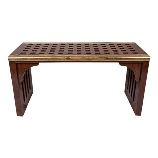 Ship's Nautical Teak Decking Waterfall Coffee Table For Sale