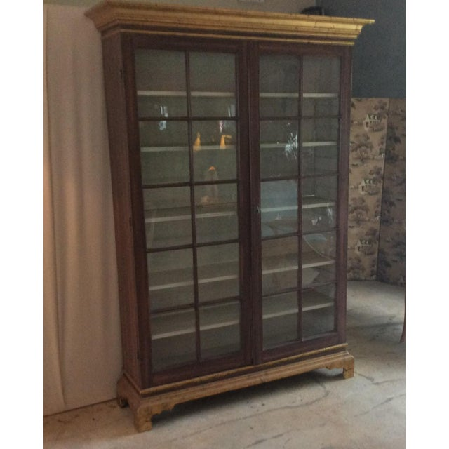 Traditional Vintage Hand Painted Glass Door Cabinet For Sale - Image 3 of 5