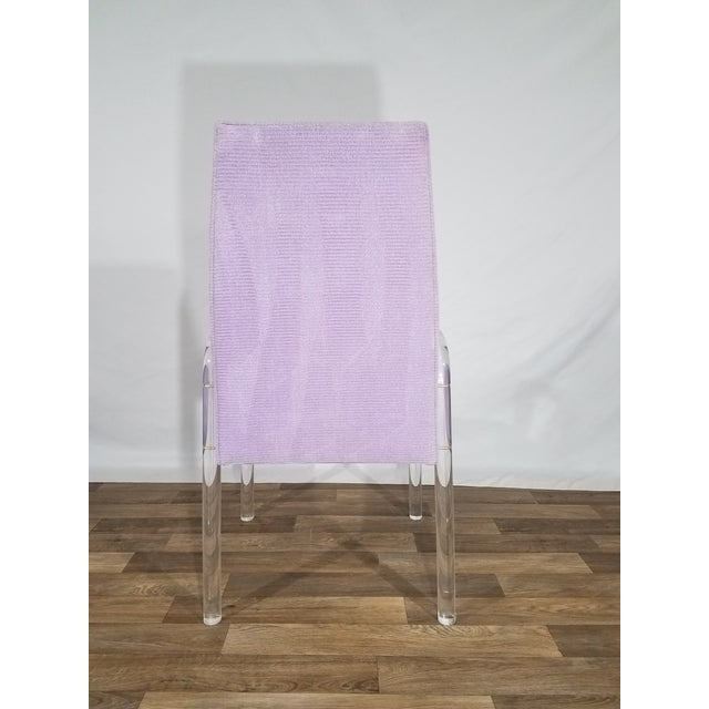Mid 20th Century Vintage Mid Century Tri-Mark Tulip Purple and Lucite High Back Chairs- Set of 4 For Sale - Image 5 of 13