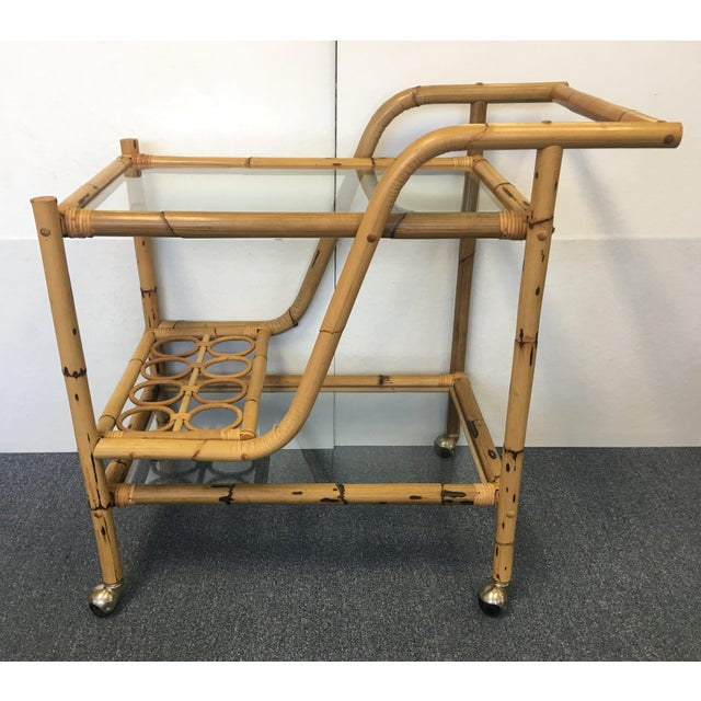 Vintage Bamboo & Rattan Bar Cart For Sale In West Palm - Image 6 of 6