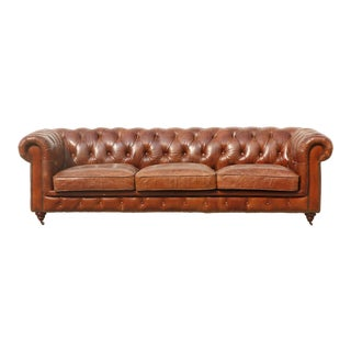 Pasargad Home Genuine Leather Chester Bay Tufted Sofa For Sale