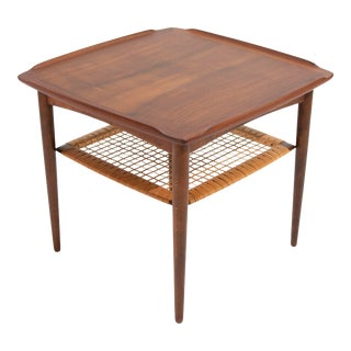 Vintage Danish Modern Poul Jensen for Selig Walnut Two Tiered Side Table For Sale