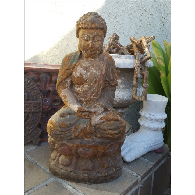 Vintage Distressed Wood Quan Yin Statue - Image 2 of 5
