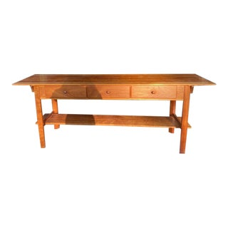Vintage Mission Style Solid Cherry Wood Console Table For Sale