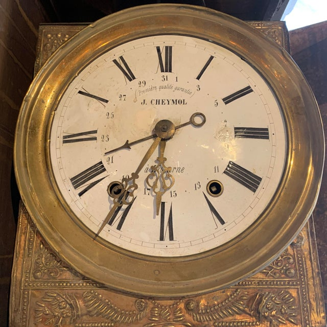 Gray Antique French Painted Grandfather Clock For Sale - Image 8 of 13