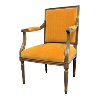 Louis XVI Walnut Open Arm Chair For Sale