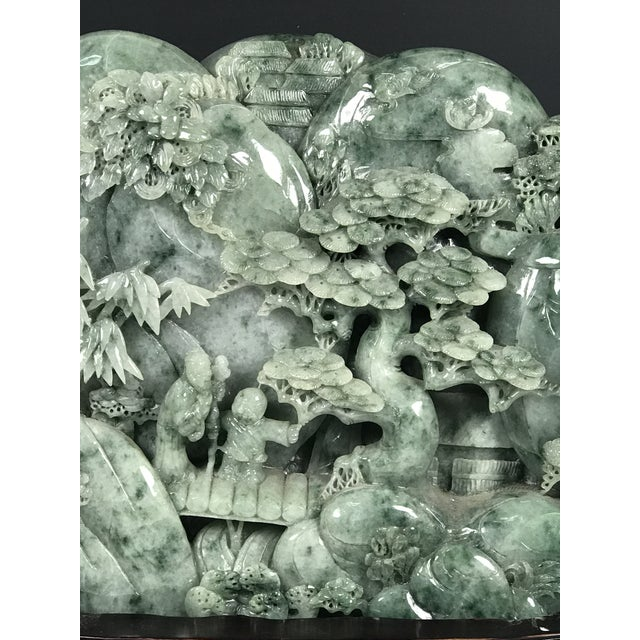Chinese Art Carved Green Jade Mountain With People - Image 9 of 11