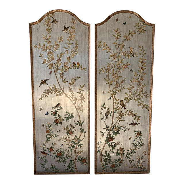Hand Painted Chinoiserie Wall Panels- a Pair For Sale