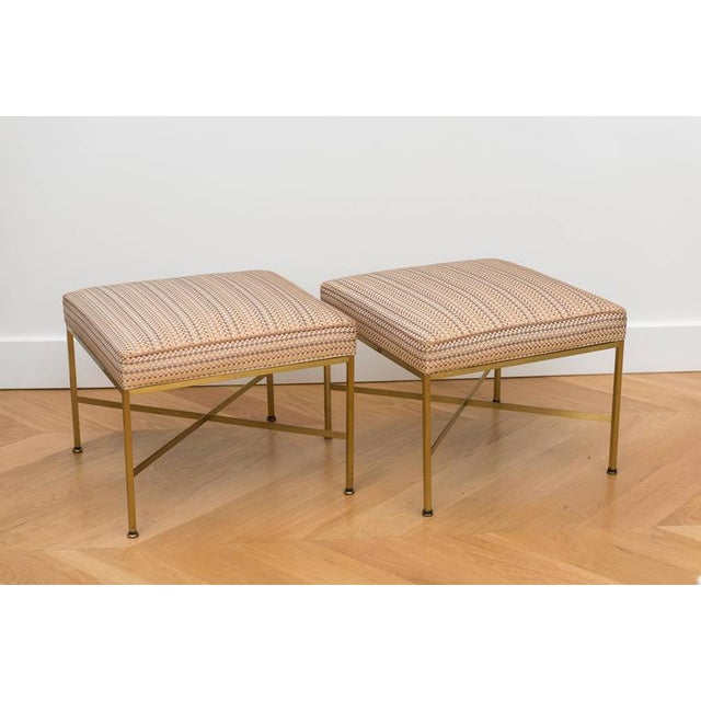 Paul McCobb Brass Ottomans With Original Fabric - A Pair - Image 4 of 5