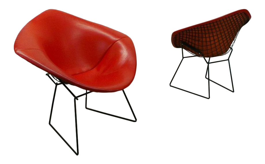 1950s Mid Century Modern Harry Bertoia For Knoll Associates Black Wire  Diamond Chairs   A Pair