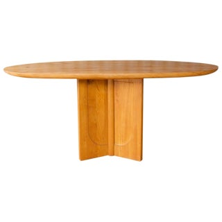 Vintage French Solid Elm Dining Table For Sale
