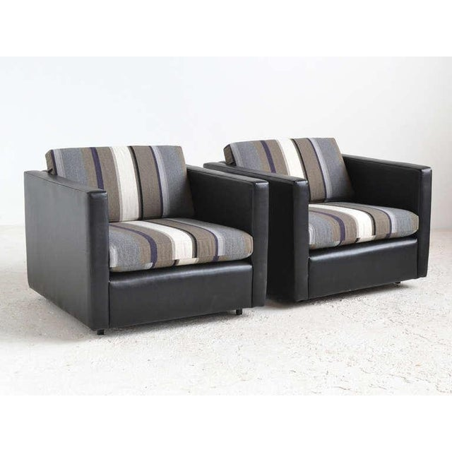 Pair of Pfister Lounge Chairs by Knoll in Leather and Fabric - Image 3 of 8