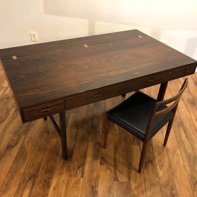 1970s Peter Lovig Nielsen Flip Top Rosewood Desk For Sale - Image 5 of 13