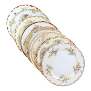 Vintage Mismatched Fine China Dinner Plates - Set of 8 For Sale