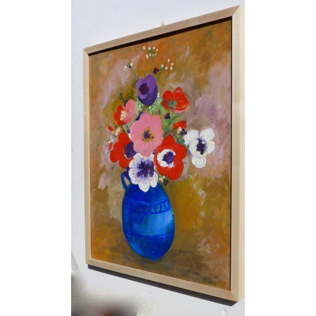 Boho Chic Large - French Bouquet of Flowers, Oil Painting For Sale - Image 3 of 13