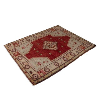 Vintage Red Turkish Area Rug 3'x4' For Sale